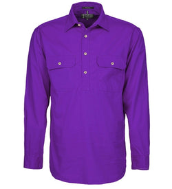 Ritemate Mens Closed Front Long Sleeve Shirt - Purple