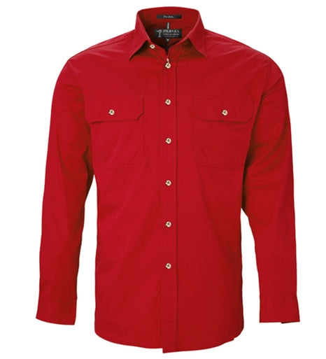 Ritemate Mens Open Front Long Sleeve Shirt - 2 Colours