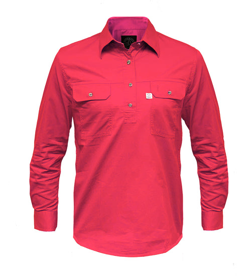 Ritemate Ladies Australian Cotton Closed Front Work Shirt - 4 Colours