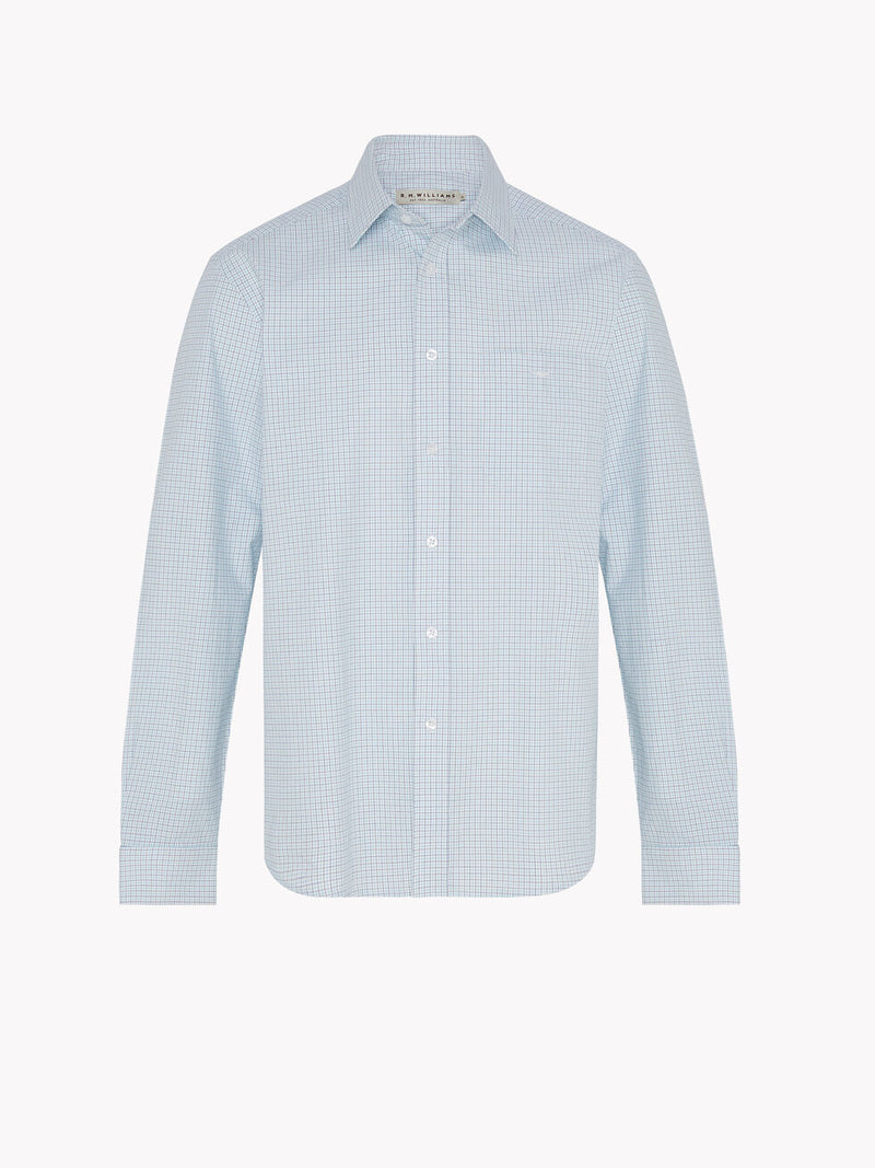 R.M. Williams Collins Shirt - Aqua/Navy/White