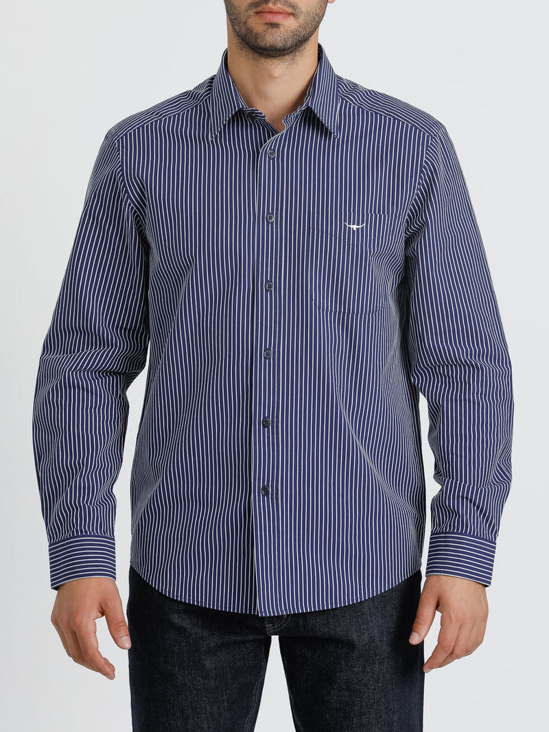 R.M. Williams Collins Shirt - Navy/White