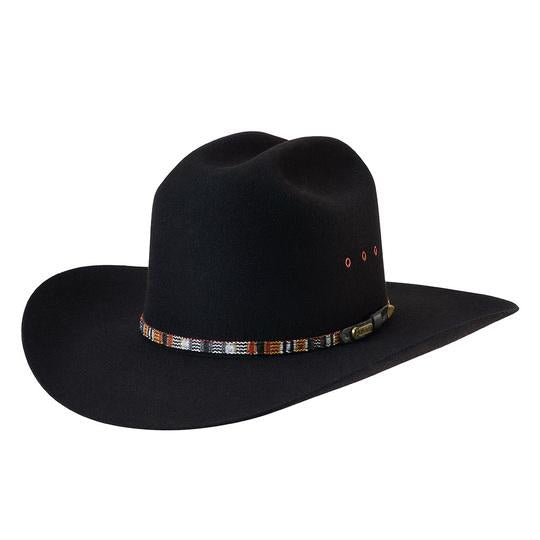The Black Akubra Bronco Hat has a tall, centre-creased western crown and a broad, upswept brim. It features a Guatemalan style patterned band, satin lining, and eyelet vents. Make the most of reduced prices on all of our Akubras online, and receive free shipping if you spend over $200.