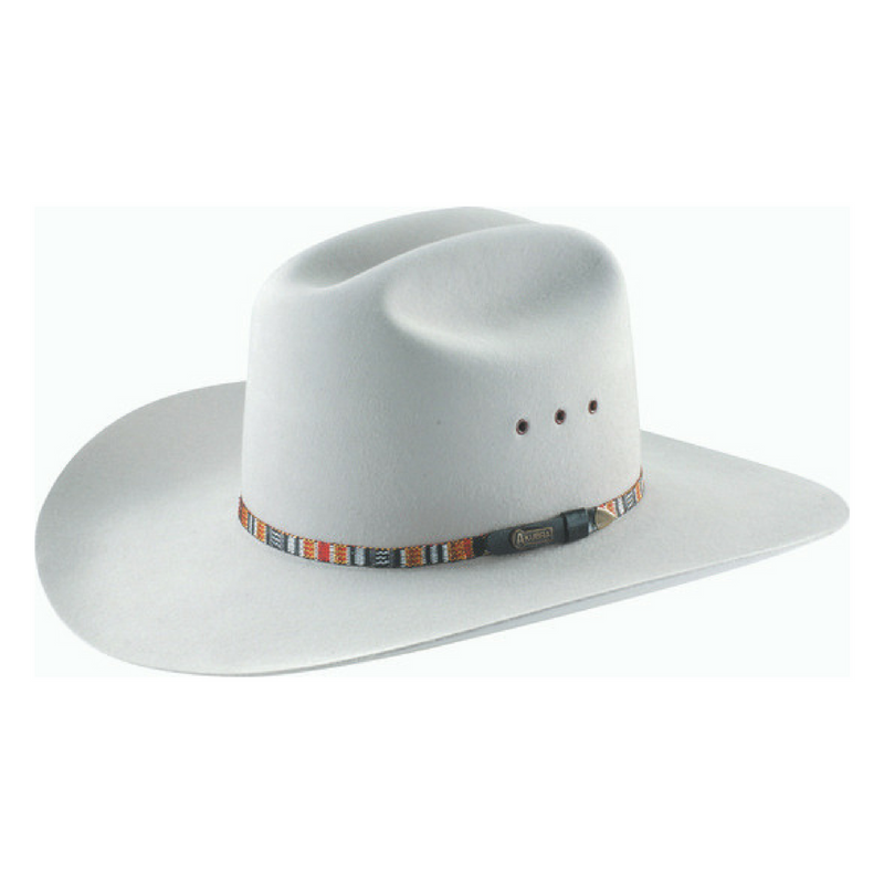 The Quartz Akubra Bronco Hat has a tall, centre-creased western crown and a broad, upswept brim. It features a Guatemalan style patterned band, satin lining, and eyelet vents. Make the most of reduced prices on all of our Akubras online, and receive free shipping if you spend over $200.