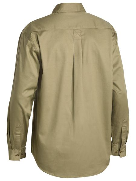 Bisley Closed Front Cotton Drill Shirt - Long Sleeve - Khaki