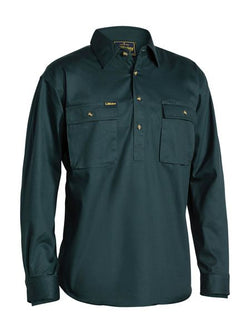 Bisley Closed Front Cotton Drill Shirt - Long Sleeve - Bottle