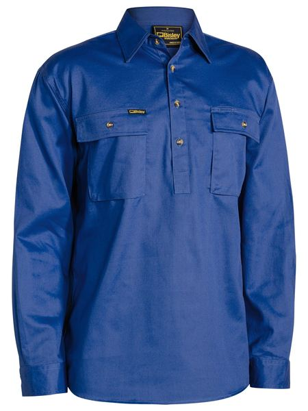 Bisley Closed Front Cotton Drill Shirt - Long Sleeve - Royal