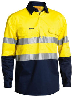 Bisley Hi-Vis Cool Lightweight Closed Front 3M Shirt - Long Sleeve