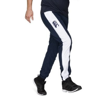 Canterbury Mens Taper Leg Striped Cuff Trackpant - Navy and Black