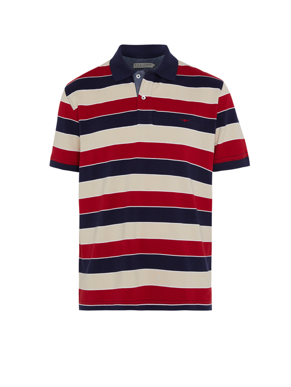 R.M. Williams Mens Rod Polo - Navy/Red