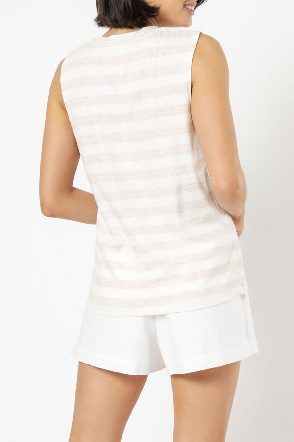 Nude Lucy Callie Stripe Tank - Cream