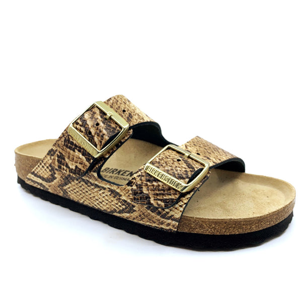 Birkenstock Arizona Embossed Leather Beige/Snake - Narrow