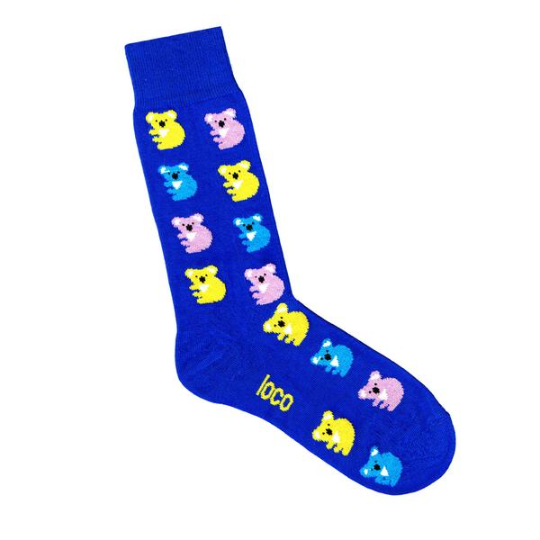 Loco Koala Socks - Grey, Royal & Navy