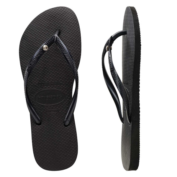 Womens Havaianas Black Slim Crystal Thongs