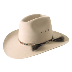 The Akubra Stony Creek Hat features a tall, western-creased crown and a broad, upswept brim. It features an Aztec braid double horse hair tail band, satin lining and eyelet vents. Make the most of reduced prices on all of our Akubras online, and receive free shipping if you spend over $200.