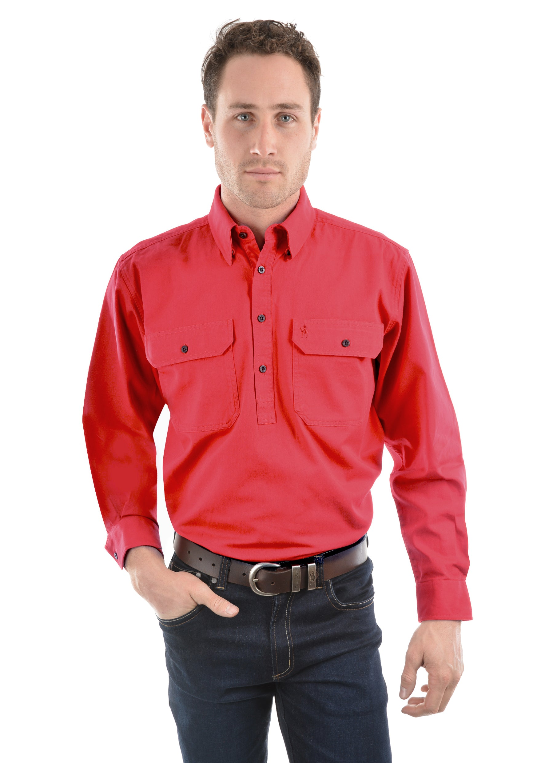 Thomas Cook Mens Heavy Drill Shirt Half Placket - Tomato