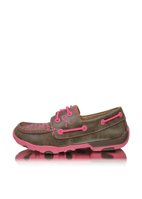 Twisted X Womens Pink Ribbon Mocs Boat Slip On