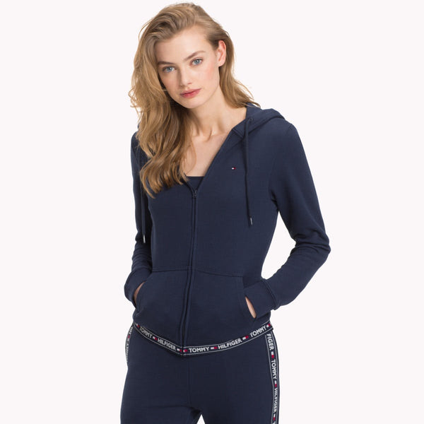 Tommy Hilfiger Womens Cotton Terry Lounge Hoody - Navy and Grey