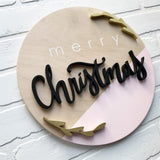 "12"" Merry Christmas Round - Pink Colour Block"