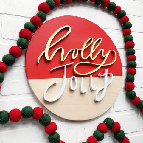 "12"" Holly Jolly Red Round"