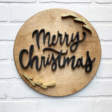 "12"" Merry Christmas Rustic Round - Stained"