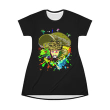 Load image into Gallery viewer, Green Camo Sherlock summerdelic  T-Shirt Dress