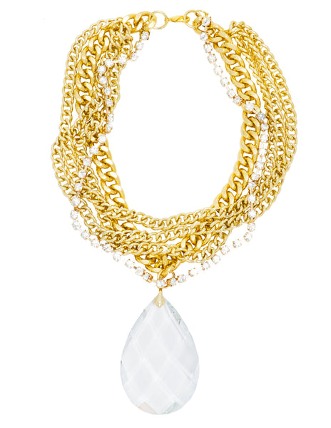 RIVIERA CHIC STATEMENT NECKLACE (GOLD/CLEAR/LG.)