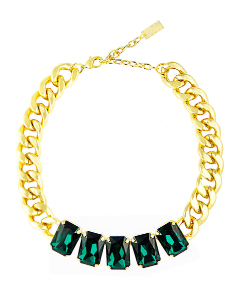 EMERALD ELEGANCE STATEMENT NECKLACE