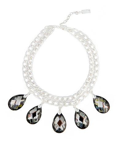 CROWNED IN CRYSTAL STATEMENT NECKLACE (CHROMIUM GREY)