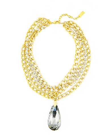 RIVIERA CHIC STATEMENT NECKLACE (GOLD/LAB) - CUSTOM*
