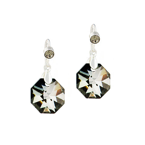 GLITTER GIRL STATEMENT EARRINGS (CHROMIUM GREY)