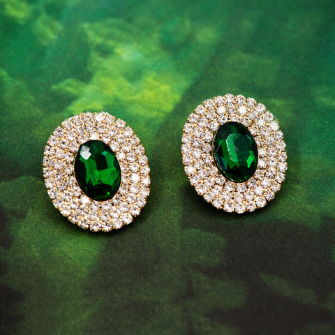 DAZZLING GREEN STATEMENT EARRINGS