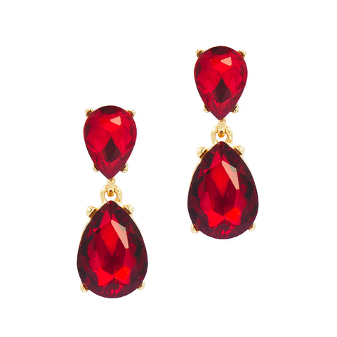 ROYAL GLAMOUR STATEMENT EARRINGS (RED)