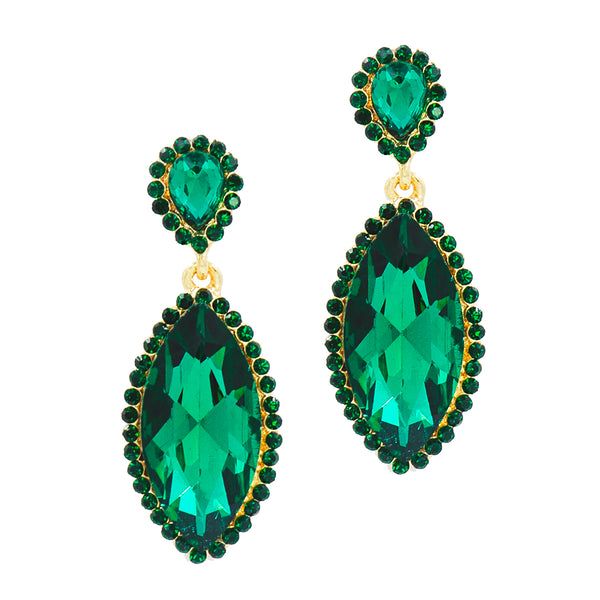 MARVELOUS MARQUIS STATEMENT EARRINGS (EMERALD)