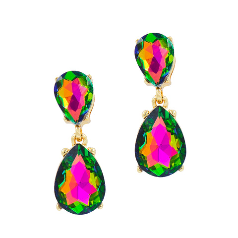 ROYAL GLAMOUR STATEMENT EARRINGS (IRIDESCENT)