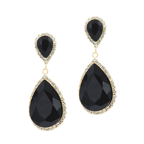 JAWDROP GLAMOUR STATEMENT EARRINGS (BLACK)