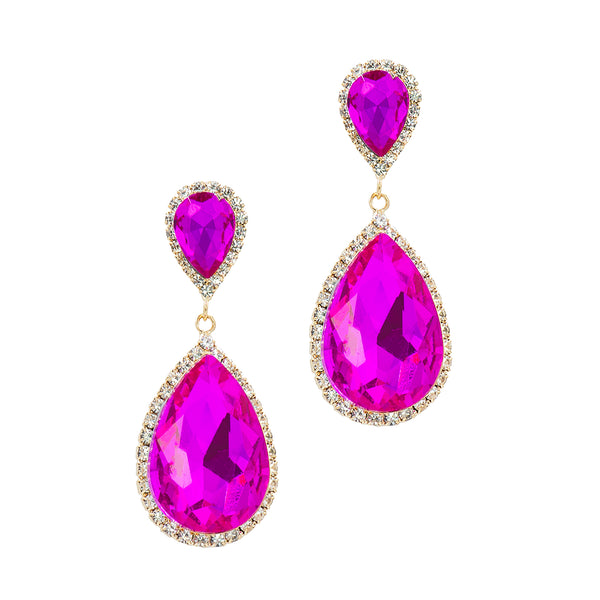 JAWDROP GLAMOUR STATEMENT EARRINGS (PINK)