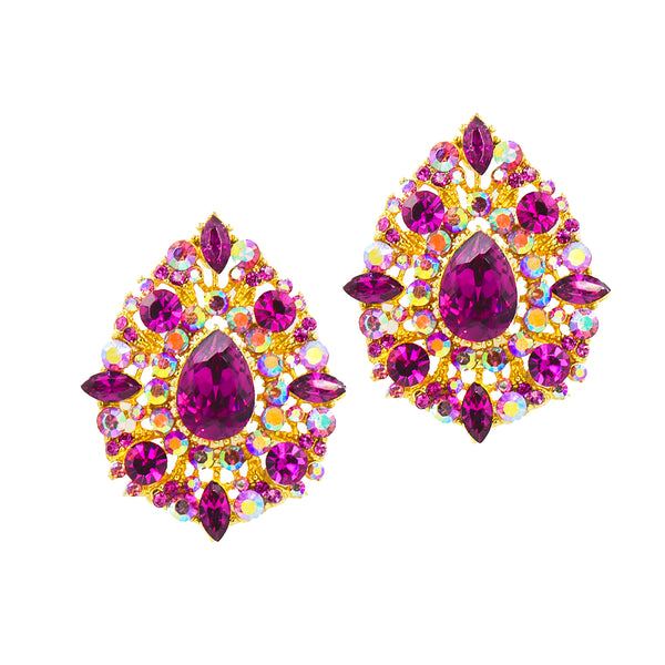 ORNATE OPULENCE STATEMENT EARRINGS (FUCHSIA)
