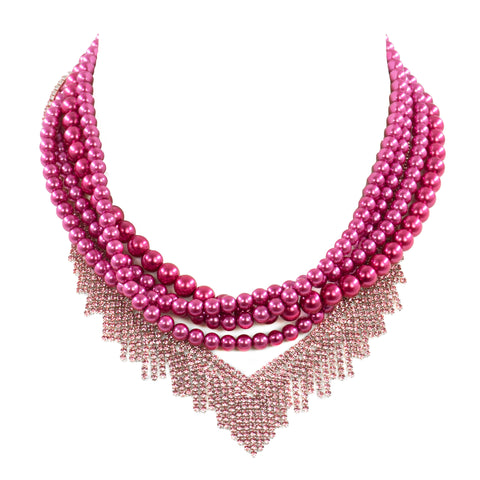 FEARLESS IN FUCHSIA STATEMENT NECKLACE