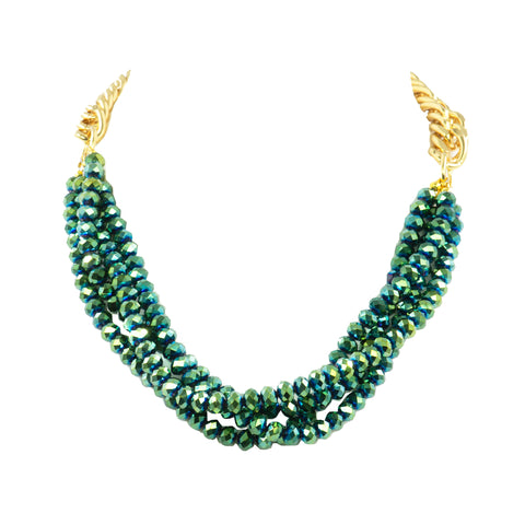 CROWNED IN DAZZLING EMERALD STATEMENT NECKLACE