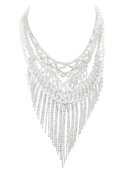 SUPREME GLAMOUR STATEMENT NECKLACE (SILVER)