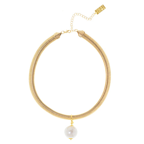OCEAN PEARL STATEMENT NECKLACE (GOLD)