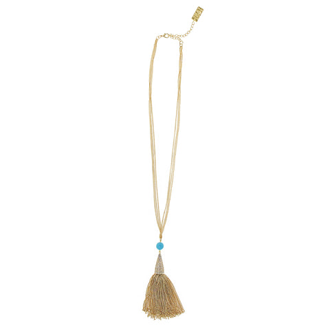 TAHITI TURQUOISE STATEMENT NECKLACE (GOLD)