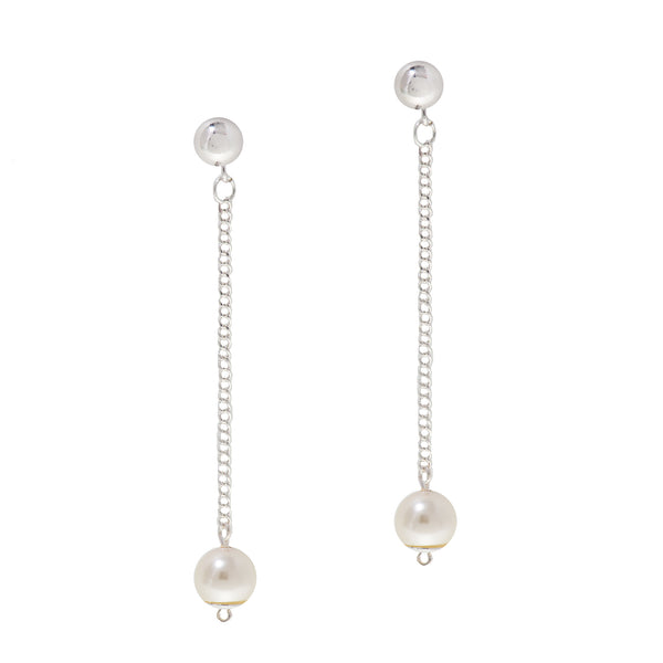 OCEAN PEARL STATEMENT EARRINGS (SILVER)