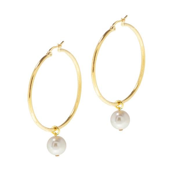 PEARL PASSION STATEMENT EARRINGS (GOLD)