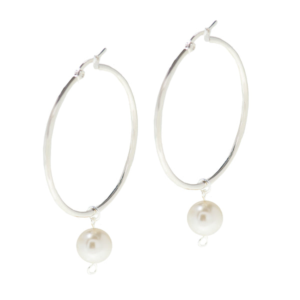 PEARL PASSION STATEMENT EARRINGS (SILVER)