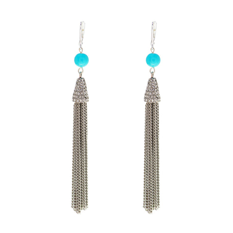 TAHITI TURQUOISE STATEMENT EARRINGS (SILVER)
