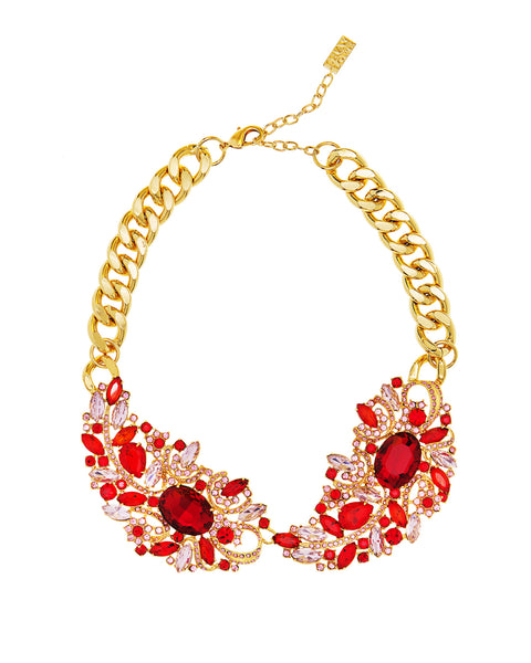 ENCRUSTED IN CRYSTAL STATEMENT NECKLACE (RED)