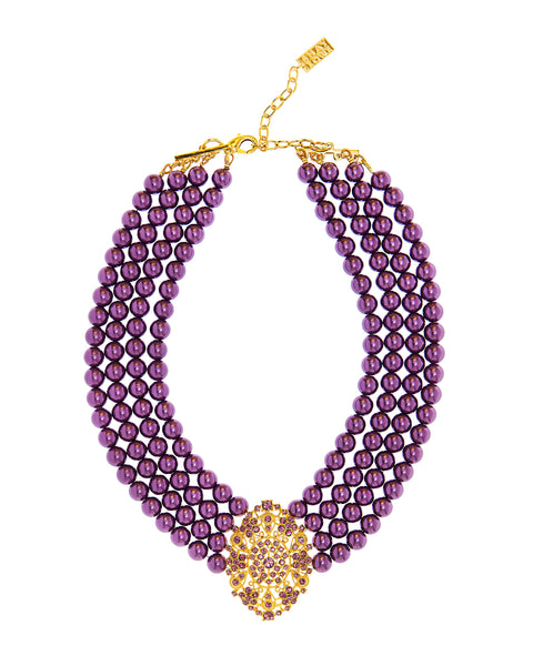 EMPRESS OF THE SEASON STATEMENT NECKLACE (PURPLE)