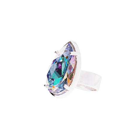 TOUCH OF CLASS STATEMENT RING (SILVER/AURORA BOREALIS)