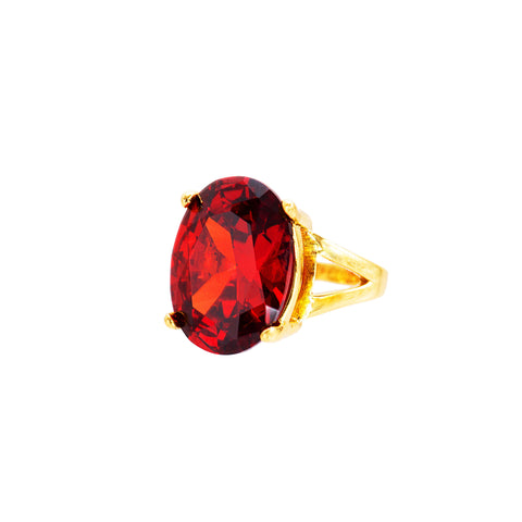 OVAL OPULENCE STATEMENT RING (RED)